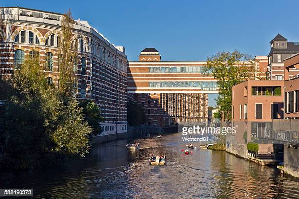 Germany, Leipzig, Buntgarnwerke and Carl Heine Channel in the evening