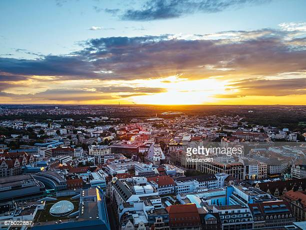 Germany, Leipzig, View of old town at sunset