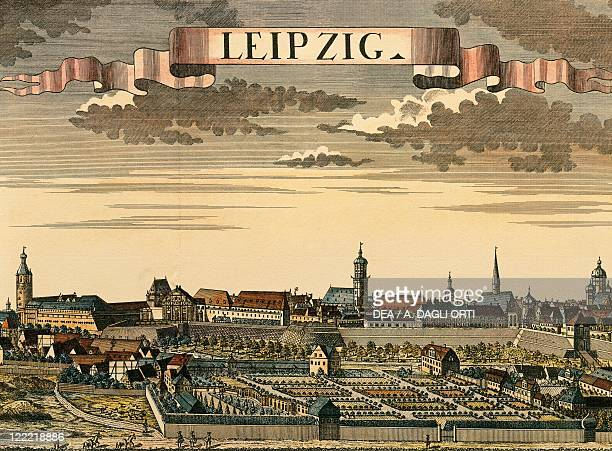 Germany Leipzig View of the city color engraving