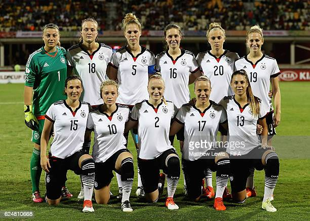 Germany line up against Korea Republic during the FIFA U-20 Women's World Cup Papua New Guinea 2016 Group D match between Korea Republic and Ge