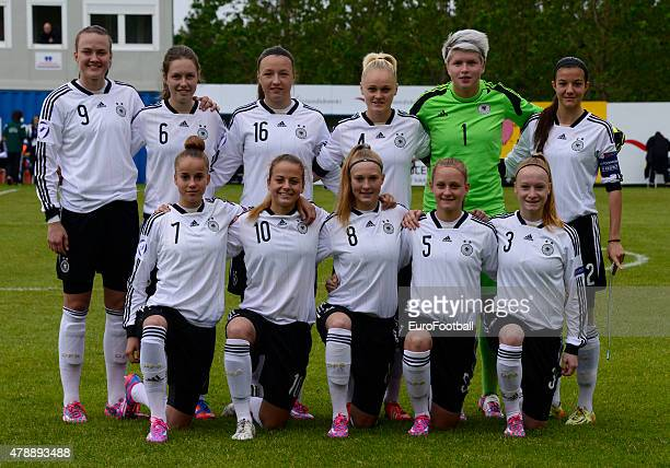 Germany line up ahead of the UEFA European Women's Under17 Championship match between U17 Germany and U17 England at Fylkisvollur on June 28 2015 in...