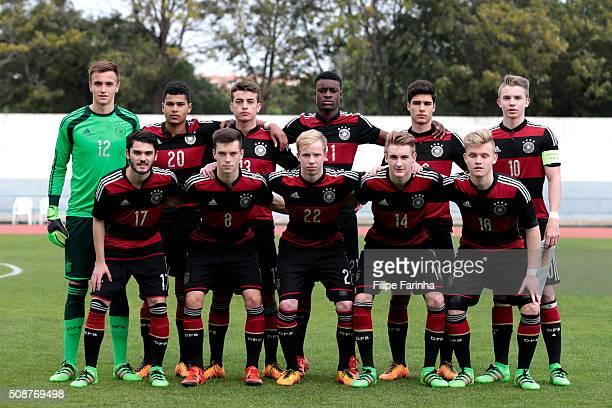 Germany lineup with Christian Fruchtl Noah Awuku JoseEnrique Rios Alonso CharlesJesaja Herrmann Elias Abouchabaka Erik Majetschak and Marius Von...