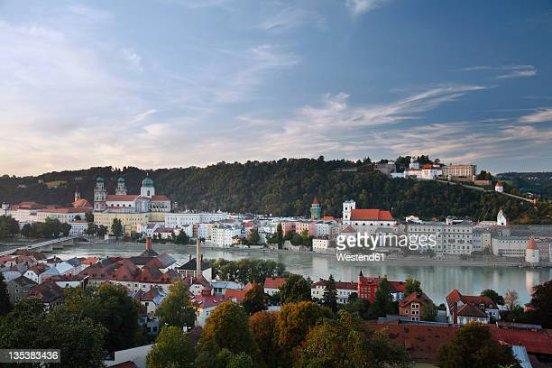 Germany, Lower Bavaria, Passau, View of buildings and danube river