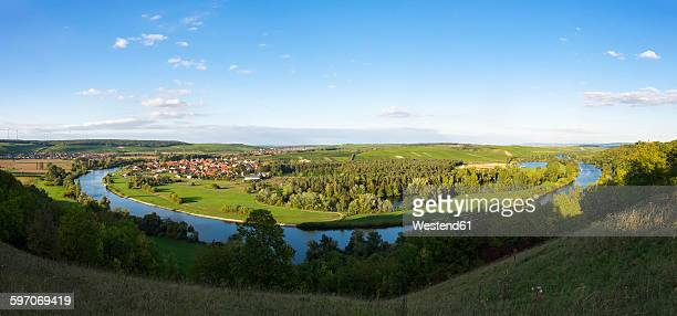 Germany, Lower Franconia, Main river loop with Fahr village near Volkach