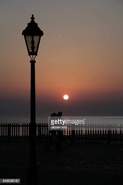 Germany Lower Saxony Borkum sunset at Borkum one of the East Frisian Islands at the North Sea