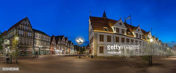 germany, lower saxony, celle, old townhall, blue hour - celle stock photos and pictures