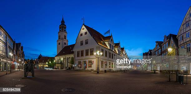 germany, lower saxony, celle, st mary's church and old townhall, blue hour - celle stock photos and pictures