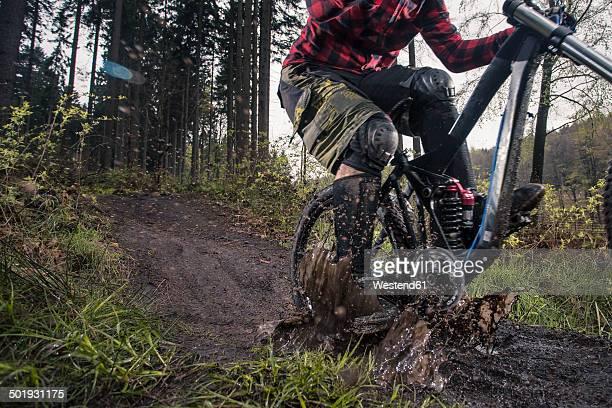 Germany, Lower Saxony, Deister, Bike Freeride in forest