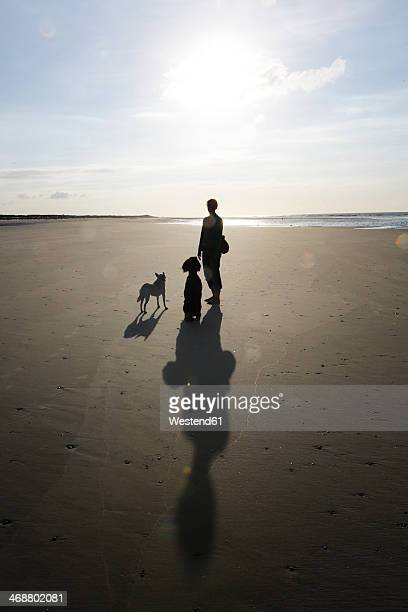 Germany, Lower Saxony, East Frisia, Langeoog, shadows and silhouettes of a woman and her dogs at the beach