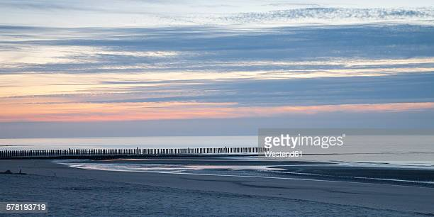 Germany, Lower Saxony, East Frisia, Wangerooge, Beach in the evening, Panorama