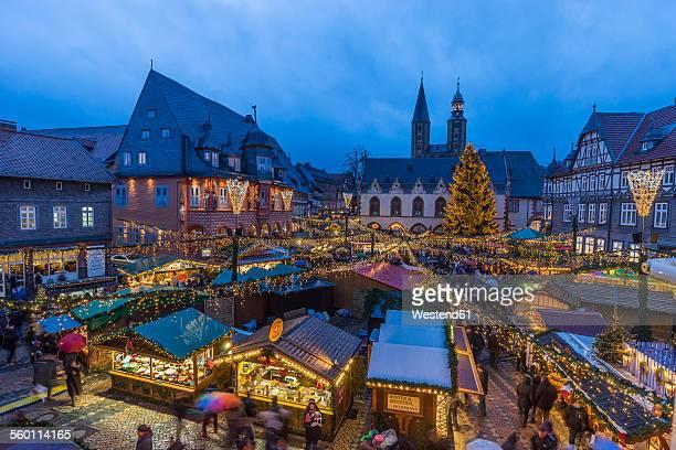Germany, Lower Saxony, Goslar, Christmas market in the evening