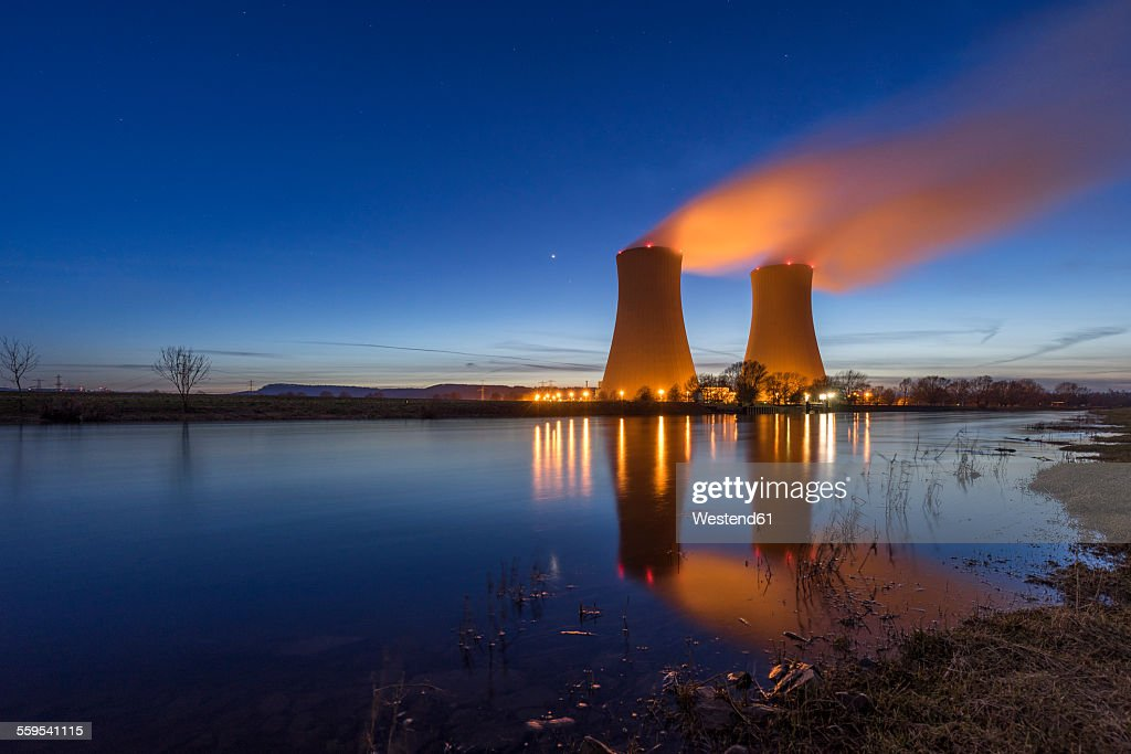 Germany, Lower Saxony, Grohnde, Grohnde Nuclear Power Plant : Stock Photo