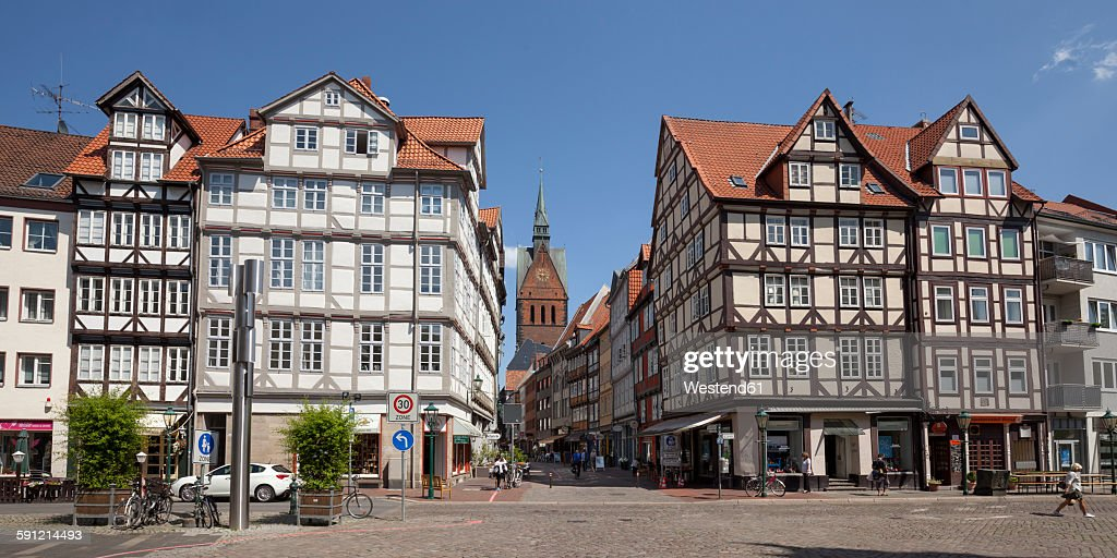 Germany, Lower Saxony, Hannover, Half timbered houses in the old town : Stock Photo