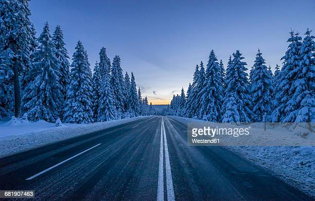 Germany, Lower Saxony, Harz National Park, road in winter