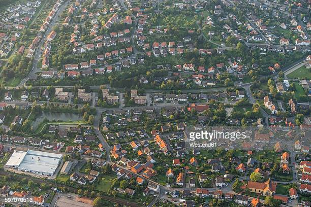 germany, lower saxony, hildesheim, aerial view of district himmelsthuer - lower saxony stock pictures, royalty-free photos & images