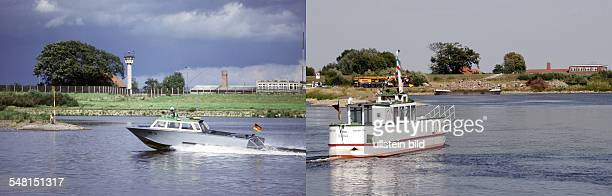 Germany Lower Saxony left The Iron Curtain and a GDR patrol boat on the Elbe river near Hitzacker and Bitter 1984 right ferry boat on the Elbe river...