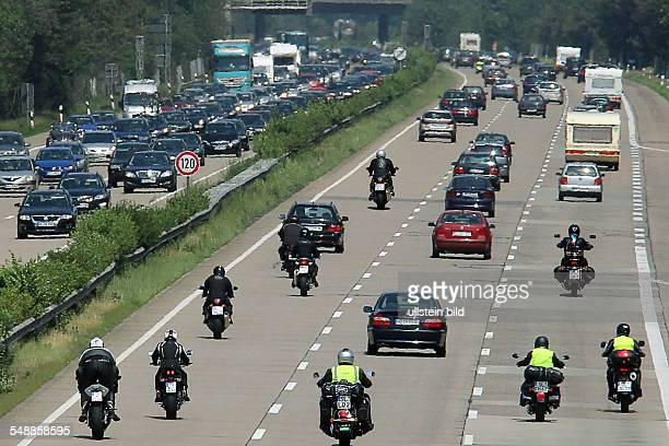 Germany Lower Saxony - traffic jam on the motorway BAB A7 Hannover-Hamburg near Schwarmsted