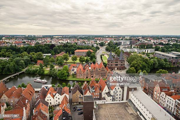 Germany, Lubeck, View over historic city with Holsten Gate