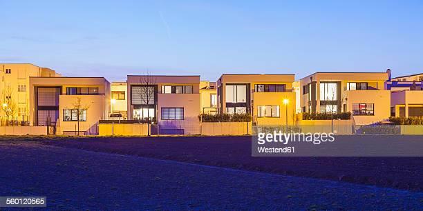 Germany, Ludwigsburg, development area, one-family houses at dusk