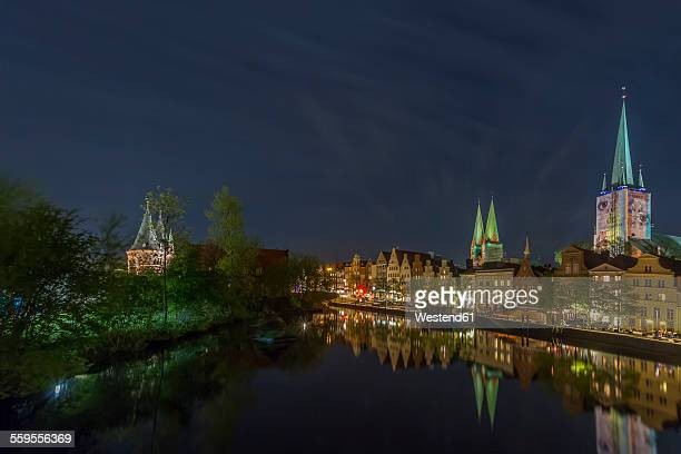 Germany, Luebeck, cityscape at night