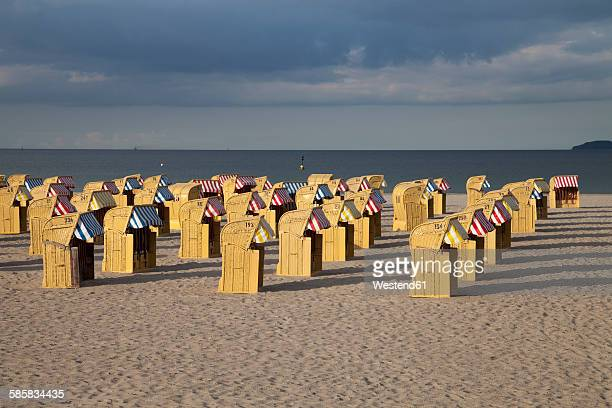 Germany, Luebeck Travemuende, view to beach with hooded beach chairs