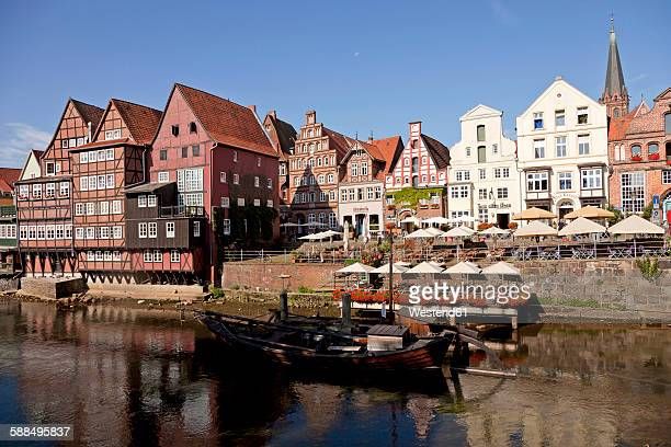 Germany, Lueneburg, Stint market, half-timbered and gable houses on Ilmenau river