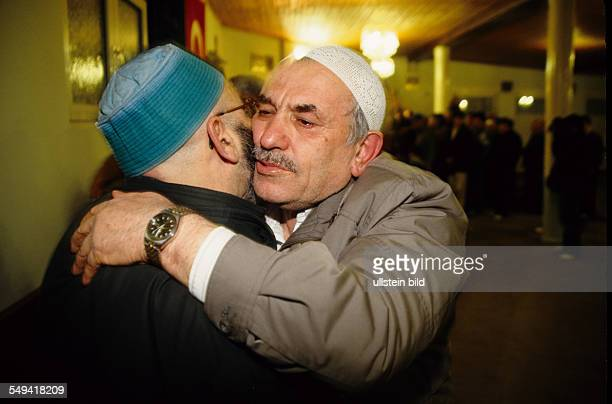 Turks in Germany Mekka pilgrims saying goodby in the mosque before their departure