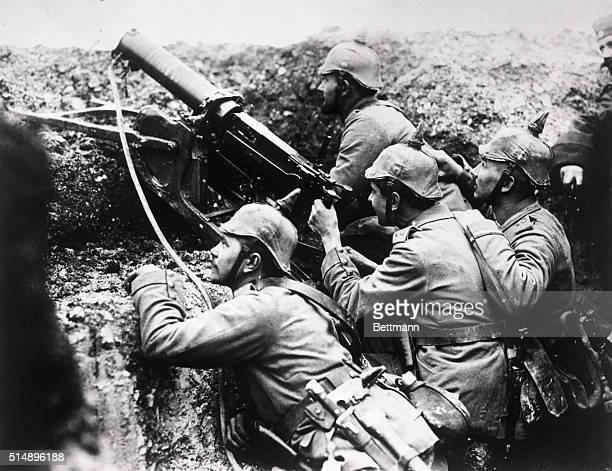 Germany: Machine gun at work before Rheims. German soldiers in World War I.
