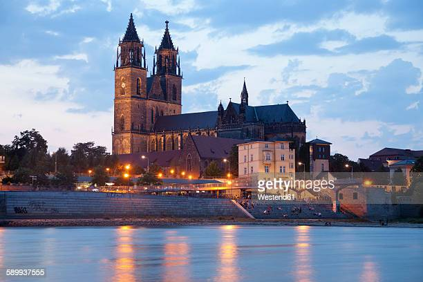 Germany, Magdeburg, banks of the Elbe and the Cathedral of Magdeburg at dusk