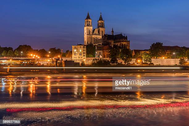 Germany, Magdeburg, Magdeburg Cathedral in the evening