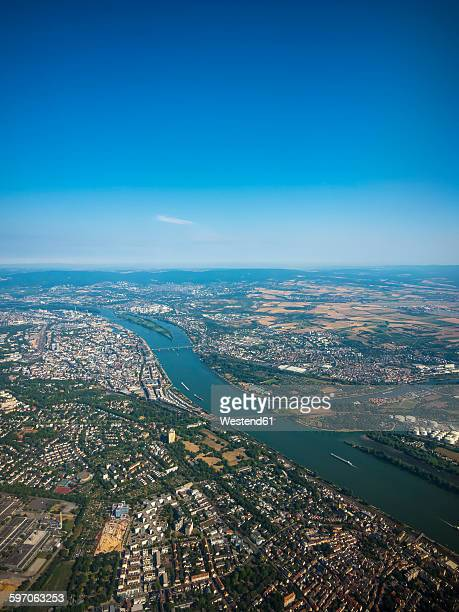 Germany, Mainz, aerial view of cinfluence of River Rhine and Main