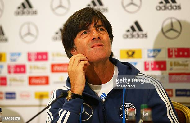 Germany manager Joachim Loew looks on during a press conference ahead of their UEFA Euro 2016 qualifier against Scotland at Hampden Park on September...