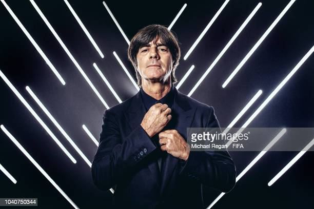 Germany manager Joachim Low is pictured inside the photo booth prior to The Best FIFA Football Awards at Royal Festival Hall on September 24 2018 in...