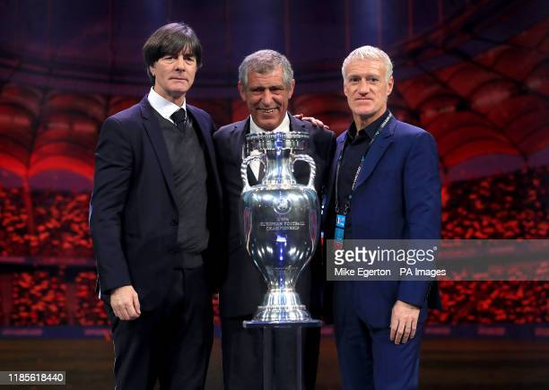 Germany manager Joachim Low , Portugal manger Fernando Santos and France manager Didier Deschamps during the Euro 2020 Draw at the Romexpo Exhibition...