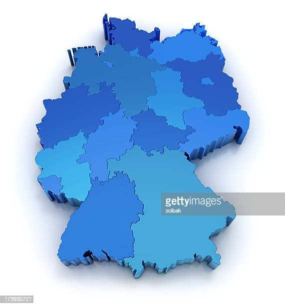 germany map with states - duitsland stockfoto's en -beelden