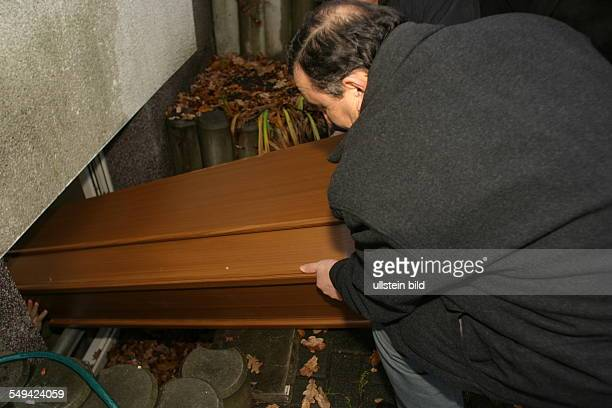 DEU Germany Marl a deceased member of the turkish community is brought in the cleaning rooms of a mosque Here the body will be cleaned before the...