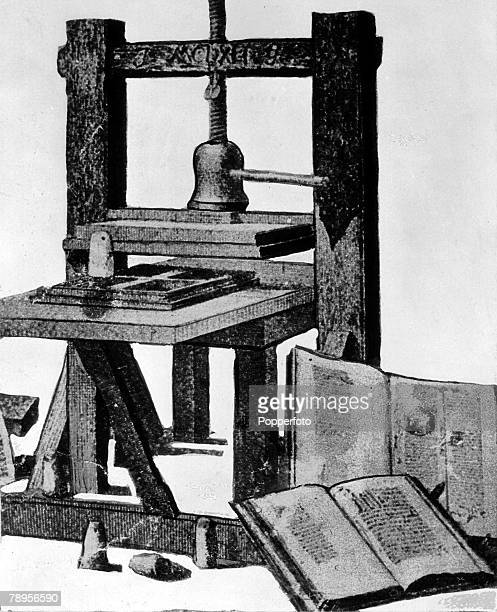 Germany Mayence A picture of German inventor Johann Gutenbergs first printing press