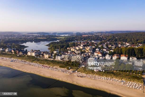 germany, mecklenburg west pomerania, baltic sea coast, usedom island, bansin, aerial view of tourist resort on coast - ウセドム ストックフォトと画像