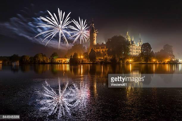 Germany, Mecklenburg-Vorpommern, Schwerin, fireworks at the castle