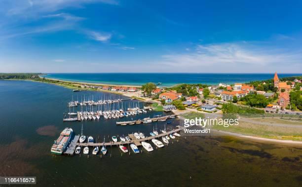 germany, mecklenburg-western pomerania, bay of wismar, peninsula wustrow, baltic sea seaside resort rerik, harbour - peninsula stock pictures, royalty-free photos & images
