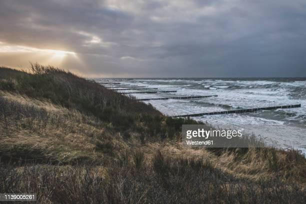 germany, mecklenburg-western pomerania, fischland, wustrow, hohes ufer in evening light - wetter stock-fotos und bilder