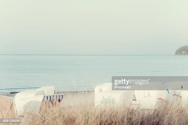 Germany, Mecklenburg-Western Pomerania, Ruegen, Binz, Beach chairs on beach