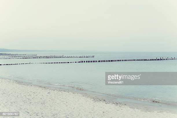 Germany, Mecklenburg-Western Pomerania, Ruegen, breakwaters in the sea