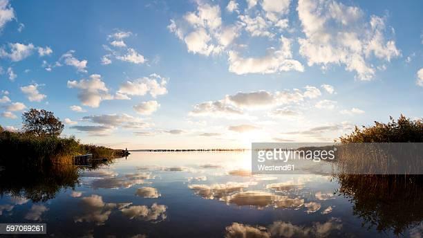 Germany, Mecklenburg-Western Pomerania, Ruegen Island, Glowe, Spyckerscher See at sunset