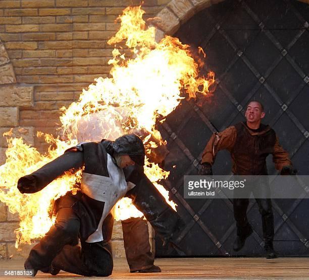 Germany MecklenburgWestern Pomerania Ruegen Stoertebeker festival at Ralswieck 'Stoertebekers Gold Der Fluch des Mauren' fire stunt