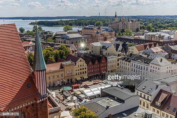 Germany, Mecklenburg-Western Pomerania, Schwerin, Cityscape, View from Cathedral to market square