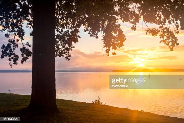 Germany, Mecklenburg-Western Pomerania, Schwerin, Lake Schwerin at sunset