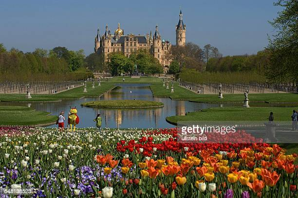 Germany MecklenburgWestern Pomerania Schwerin The terrain of the horticultural show 2009 around the Lake Schwerin with Schwerin castle in the...