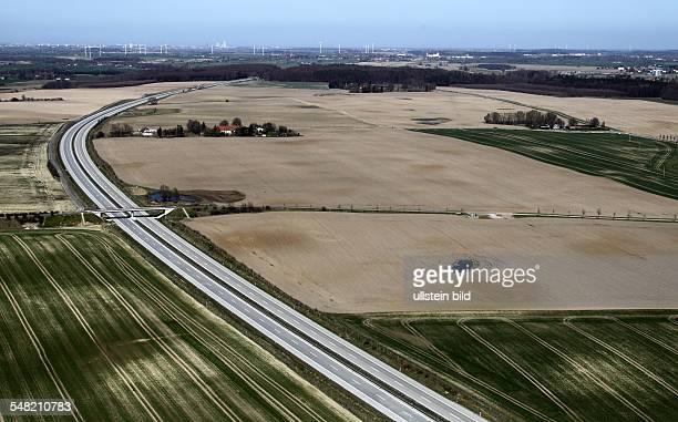 Germany MecklenburgWestern Pomerania traffic accident because of a sand storm on the motorway A19 near Rostock aerial view