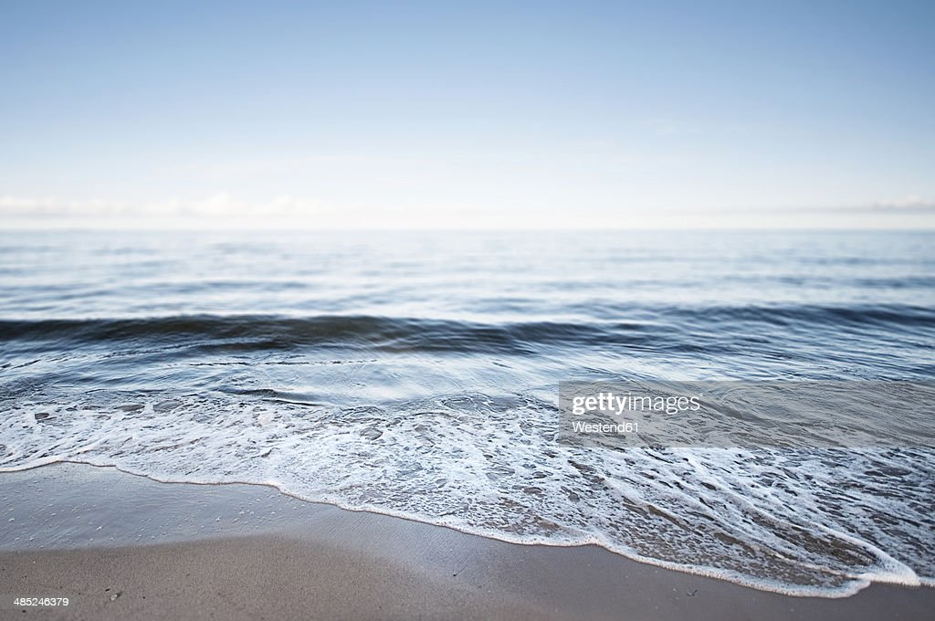 Germany, Mecklenburg-Western Pomerania, Usedom, waves on the beach : Stock Photo